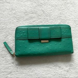 Kate Spade teal blue leather ostrich style zip wallet
